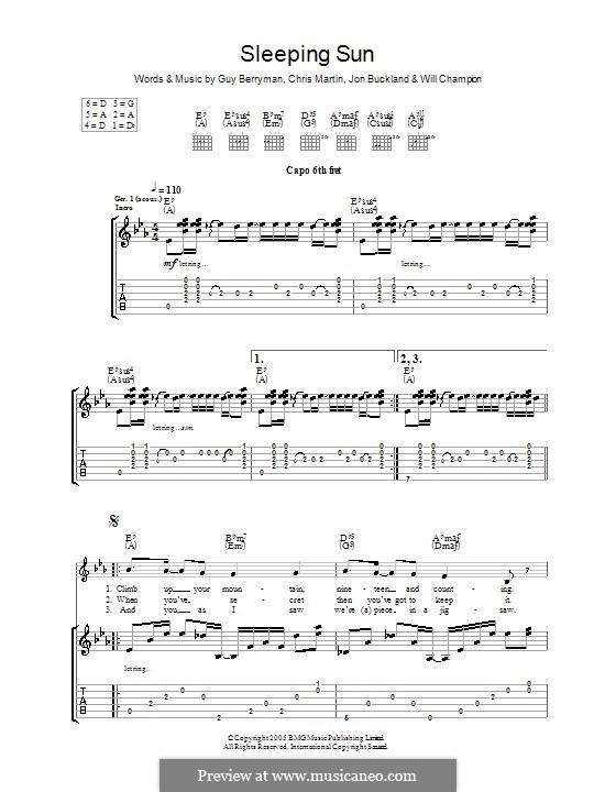 Sleeping Sun (Coldplay): For guitar with tab by Chris Martin, Guy Berryman, Jonny Buckland, Will Champion
