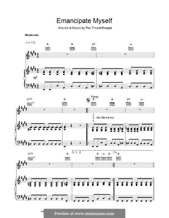 Emancipate Myself (Thirsty Merc): For voice and piano (or guitar) by Rai Thistelthwayte
