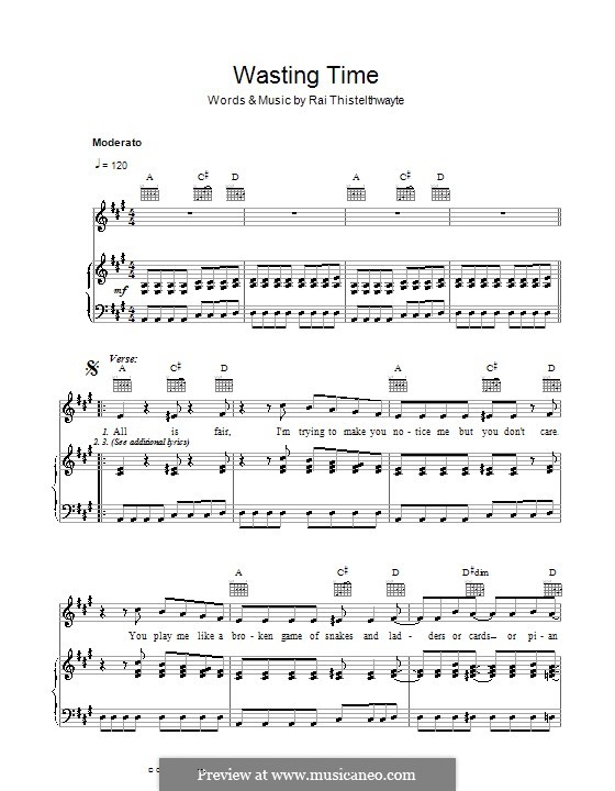 Wasting Time (Thirsty Merc): For voice and piano (or guitar) by Rai Thistelthwayte