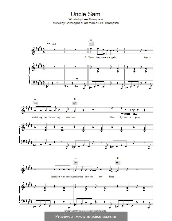 Uncle Sam (Madness): For voice and piano (or guitar) by Christopher Foreman, Lee Thompson