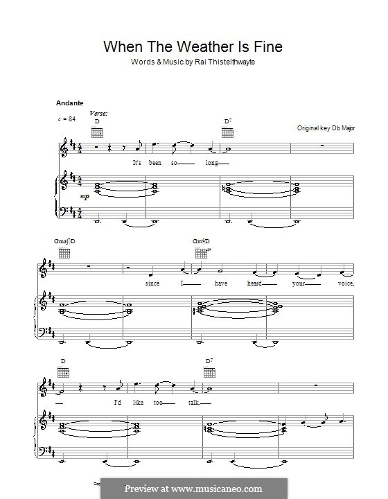 When the Weather Is Fine (Thirsty Merc): For voice and piano (or guitar) by Rai Thistelthwayte