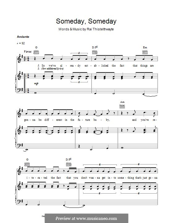 Someday, Someday (Thirsty Merc): For voice and piano (or guitar) by Rai Thistelthwayte