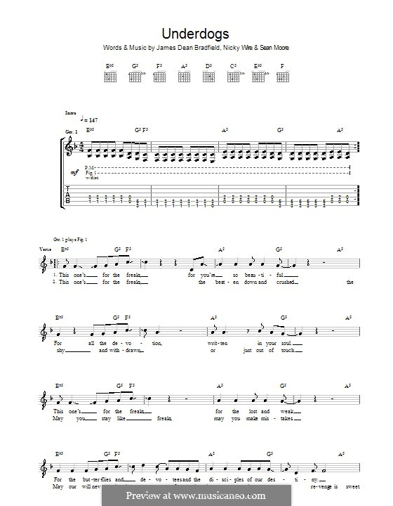 Underdogs (The Manic Street Preachers): For guitar with tab by James Dean Bradfield, Nicky Wire, Sean Moore