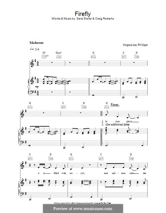 Firefly (Sara Storer): For voice and piano (or guitar) by Craig Roberts