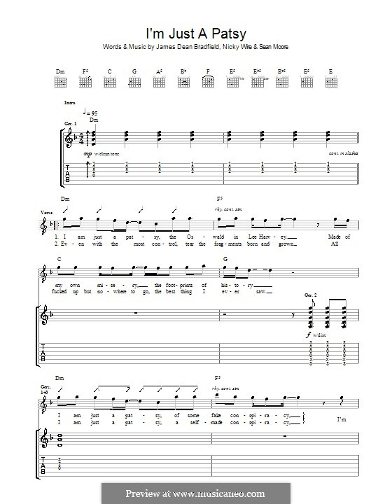 I'm Just a Patsy (The Manic Street Preachers): For guitar with tab by James Dean Bradfield, Nicky Wire, Sean Moore