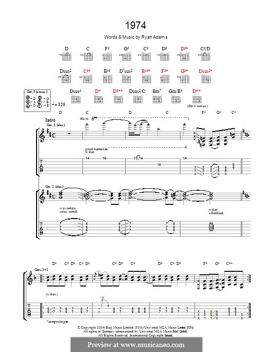 1974: For guitar with tab by Ryan Adams