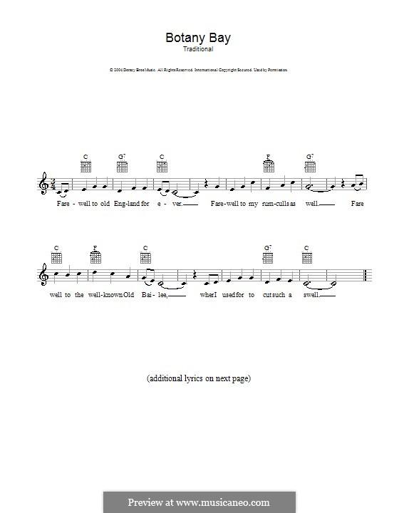 Botany Bay: Melody line, lyrics and chords by folklore