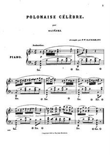 Polonaise célèbre in F Major: For piano by Michal Kleofas Oginski