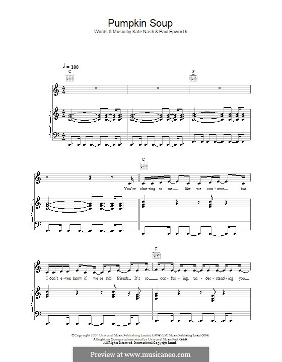 Pumpkin Soup: For voice and piano (or guitar) by Paul Epworth