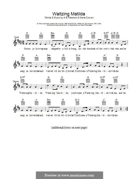 Waltzing Matilda: Melody line, lyrics and chords by Marie Cowan