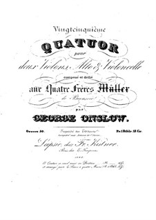 String Quartet No.25 in B Flat Major, Op.50: Parts by Georges Onslow