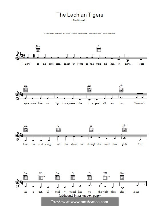 The Lachlan Tigers: Melody line, lyrics and chords by folklore