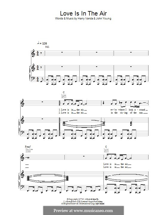 Love Is in the Air: For voice and piano (or guitar) by Harry Vanda