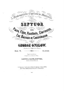 Septet for Piano, Winds and Double Bass, Op.79a: Parts by Georges Onslow