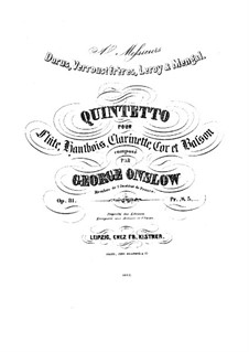 Wind Quintet, Op.81: Parts by Georges Onslow