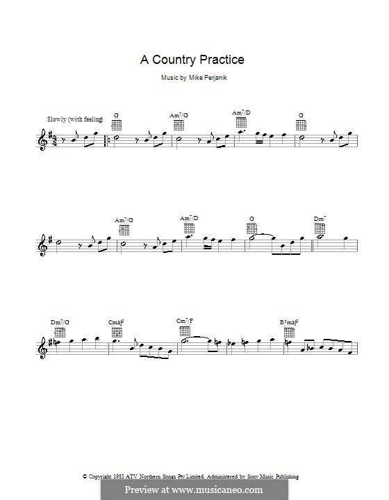 A Country Practice: Melody line, lyrics and chords by Mike Perjanik