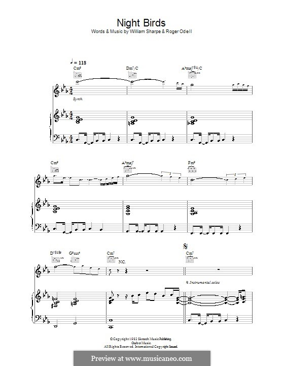 Night Birds (Shakatak): For voice and piano (or guitar) by Roger Odell, William Sharpe