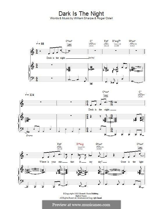 Dark is the Night (Shakatak): For voice and piano (or guitar) by Roger Odell, William Sharpe