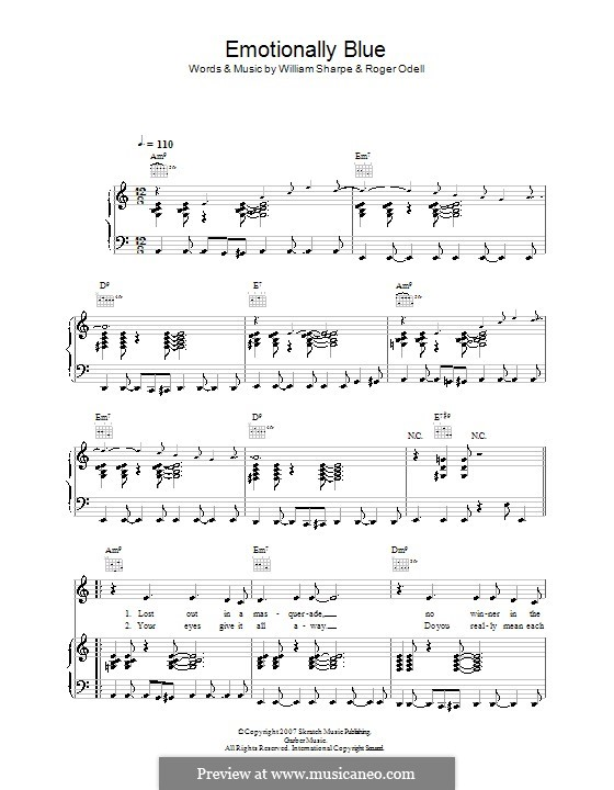 Emotionally Blue (Shakatak): For voice and piano (or guitar) by Roger Odell, William Sharpe