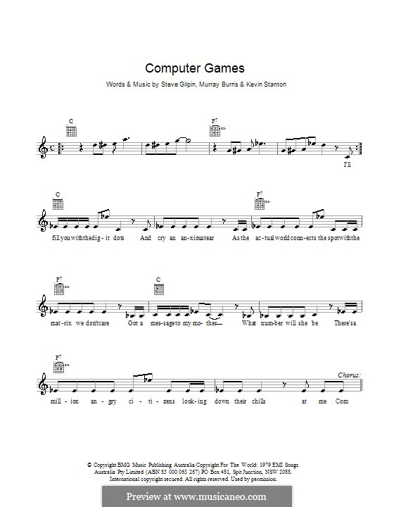 Computer Games (Mi-Sex): Melody line, lyrics and chords by Kevin Stanton, Murray Burns, Steve Gilpin