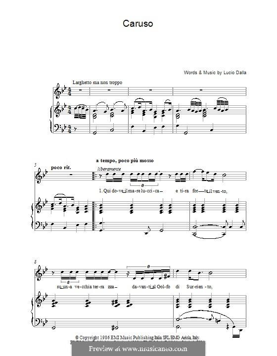 Caruso: For voice and piano or guitar (Luciano Pavarotti) by Lucio Dalla