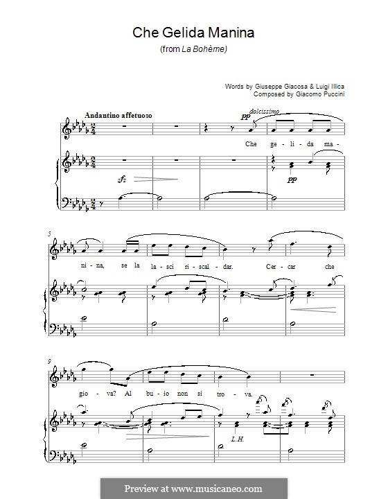 Che gelida manina: For voice and piano (or guitar) by Giacomo Puccini