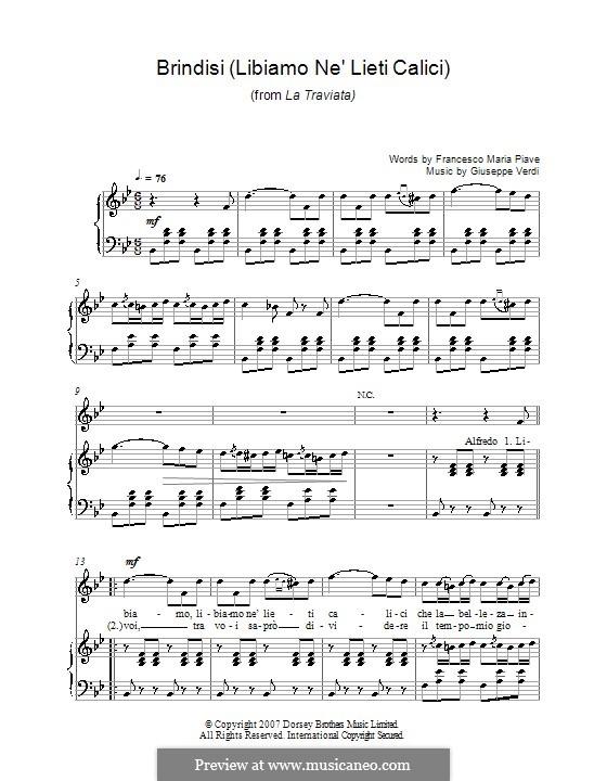 Libiamo ne'lieti calici (Brindisi): For voice and piano (or guitar) by Giuseppe Verdi