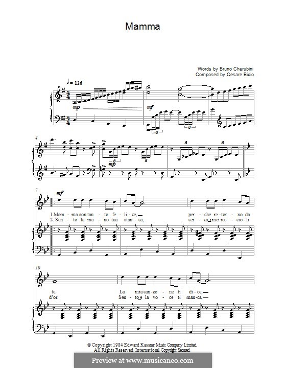 Mamma: For voice and piano or guitar (Luciano Pavarotti) by Cesare Bixio