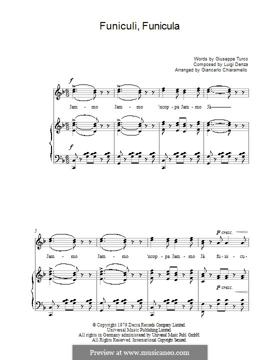 Funiculi, Funicula: For voice and piano (or guitar) by Luigi Denza