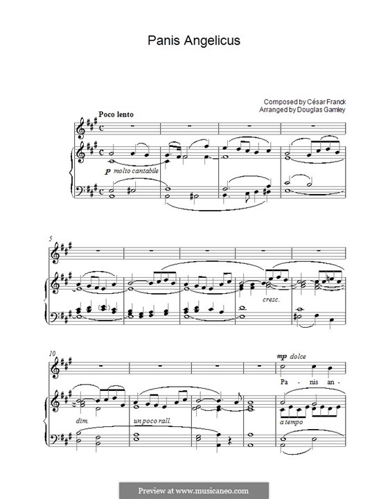 Panis Angelicus (O Lord Most Holy), Printable Scores: For voice and piano or guitar (A Major) by César Franck