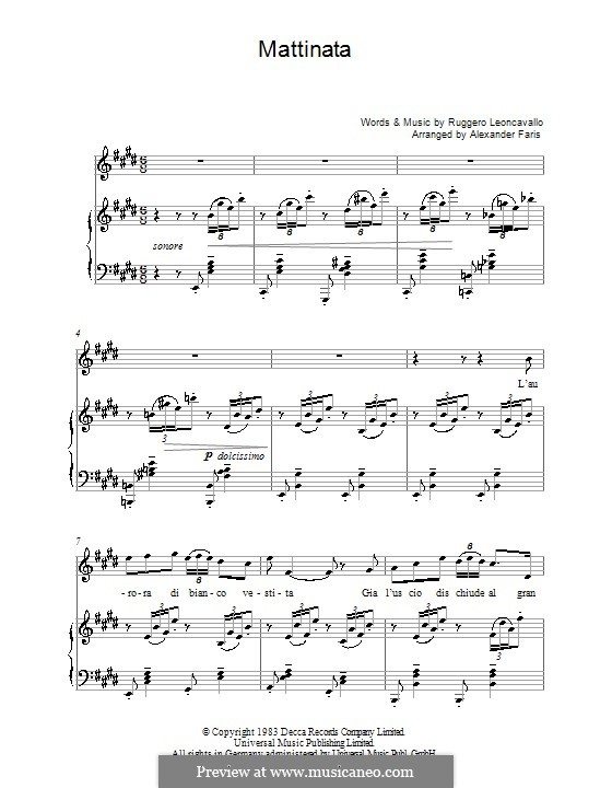 Mattinata: Piano-vocal score by Ruggero Leoncavallo