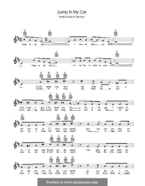 Jump In My Car By T Mulry Sheet Music On Musicaneo
