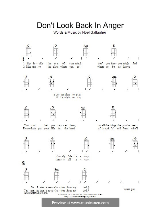 Don't Look Back in Anger (Oasis): For ukulele with strumming patterns by Noel Gallagher