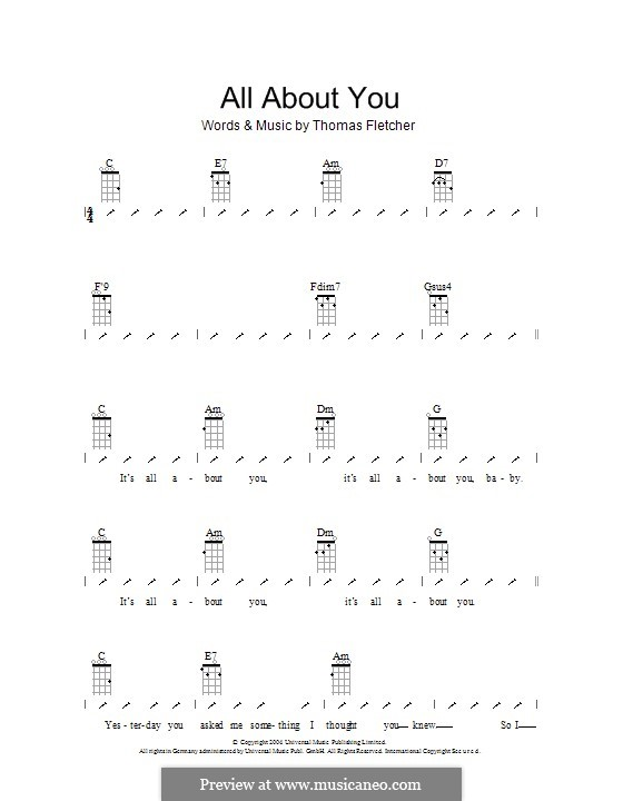 All About You (McFly): For ukulele with strumming patterns by Tom Fletcher