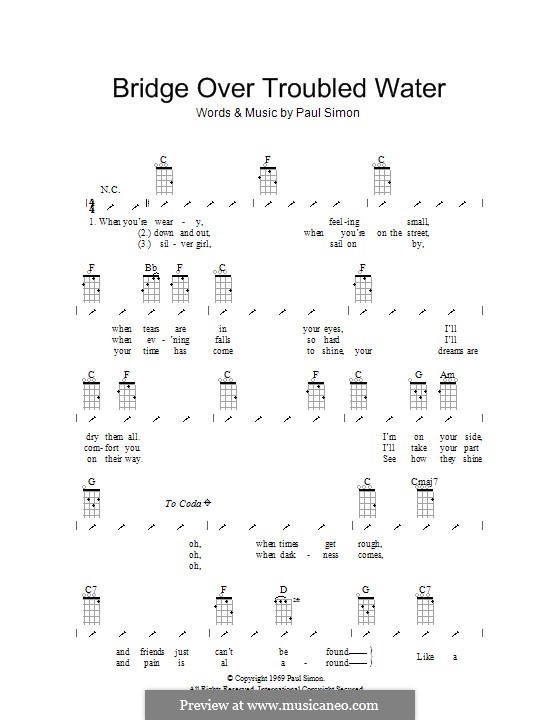 Bridge Over Troubled Water: For ukulele with strumming patterns by Paul Simon