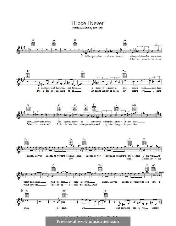 I Hope I Never (Split Enz): Melody line, lyrics and chords by Tim Finn