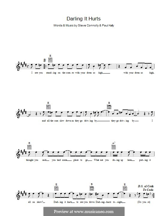 Darling It Hurts: Melody line, lyrics and chords by Steve Connolly