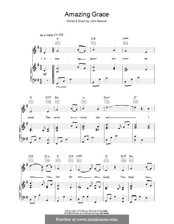 Amazing Grace (Printable Scores): For voice and piano (or guitar) by folklore