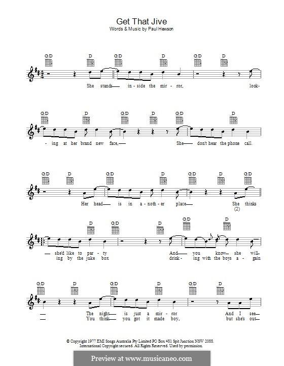 Get That Jive (Dragon): Melody line, lyrics and chords by Paul Hewson