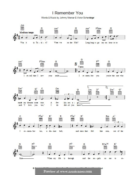 I Remember You (Diana Krall): Melody line, lyrics and chords by Victor Schertzinger