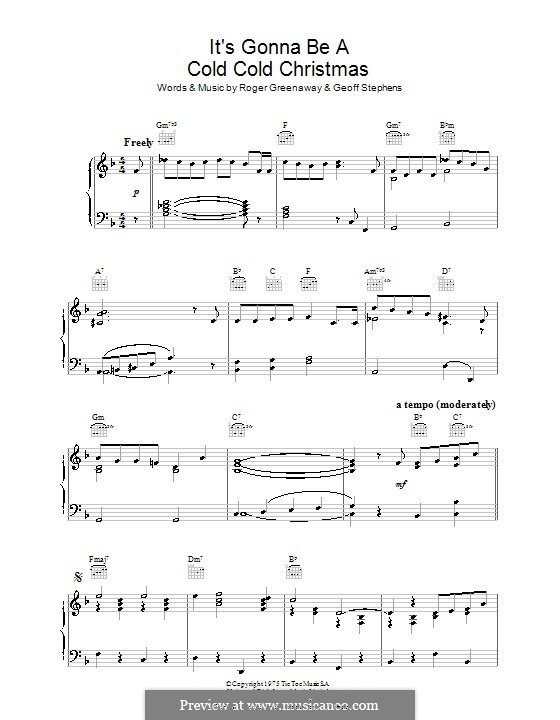 It's Gonna Be a Cold Cold Christmas (Dana): For piano by Geoff Stephens, Roger Greenaway