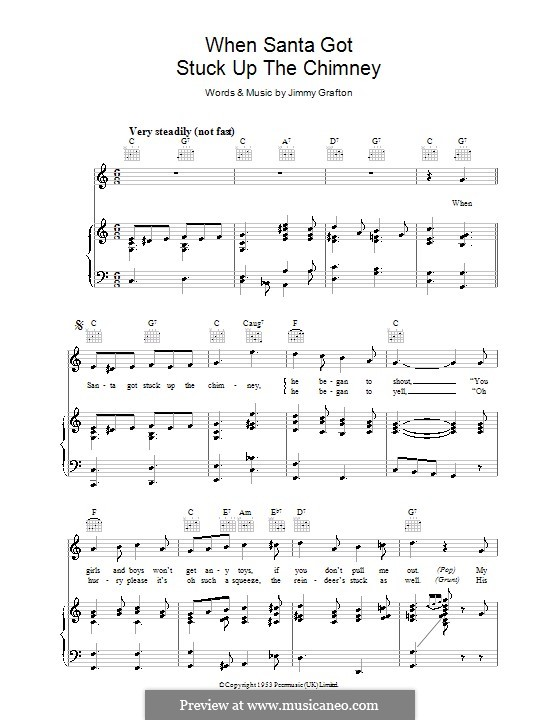 When Santa Got Stuck Up the Chimney: For voice and piano (or guitar) by Jimmy Grafton
