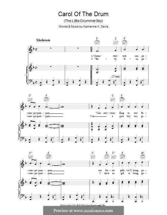 Carol of the Drum (The Little Drummer Boy): For voice and piano (or guitar) by Katherine K. Davis