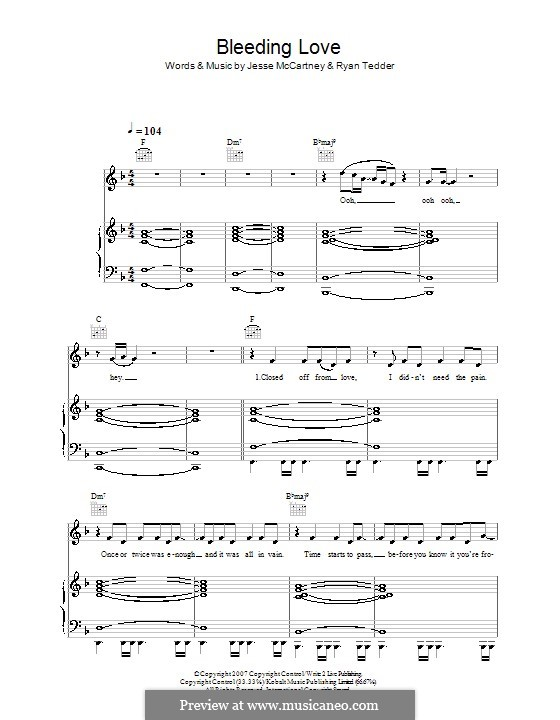 Bleeding Love (Leona Lewis): For voice and piano (or guitar) by Jesse McCartney, Ryan B Tedder