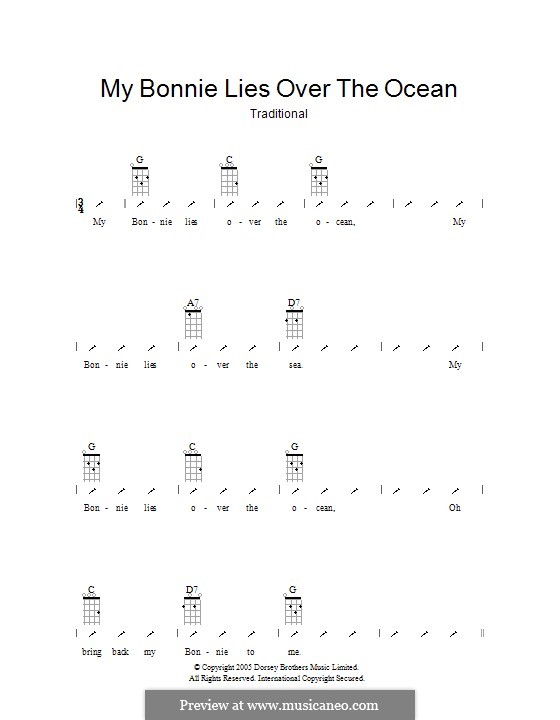 My Bonnie is over the Ocean: Ukulele with strumming patterns by folklore