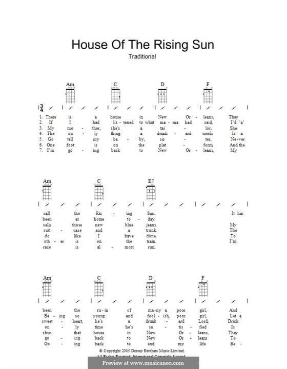 House of the Rising Sun: Ukulele with strumming patterns by folklore