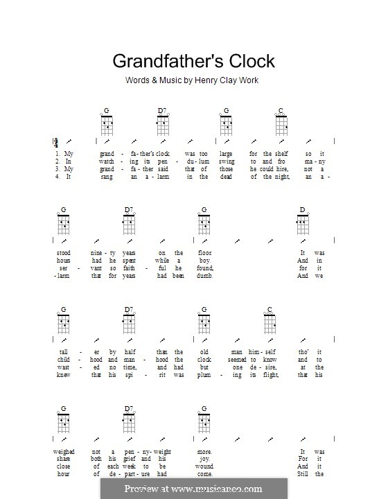 Grandfather's Clock: Ukulele with strumming patterns by Henry Clay Work