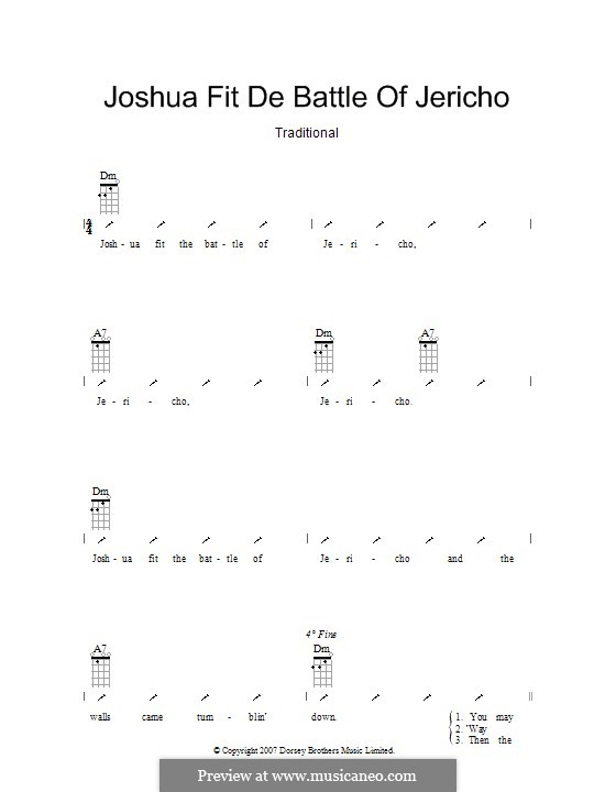 Joshua Fit de Battle ob Jericho (Joshua Fit the Battle): Ukulele with strumming patterns by folklore