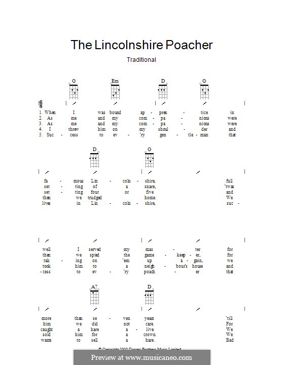 The Lincolnshire Poacher: Ukulele with strumming patterns by folklore