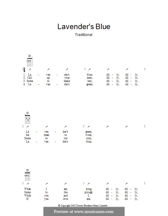Lavender Blue: Ukulele with strumming patterns by folklore